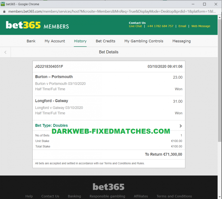 DOUBLE FIXED MATCHES HT FT WON 03 10 2020