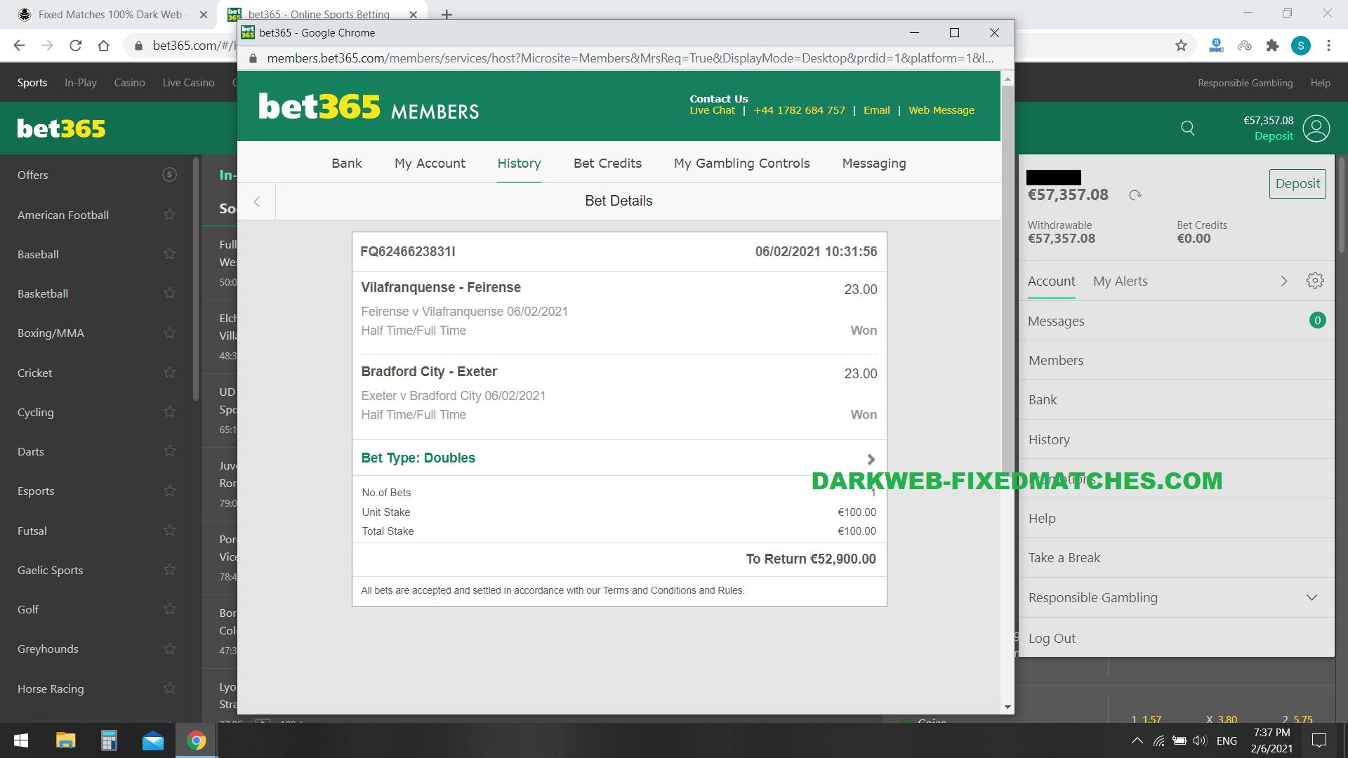 double fixed matches ht ft won 06 02 dark web