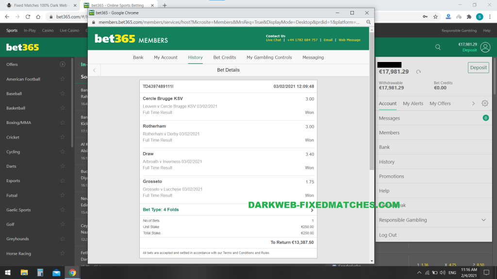 fixed matches combined vip ticket won 03 02