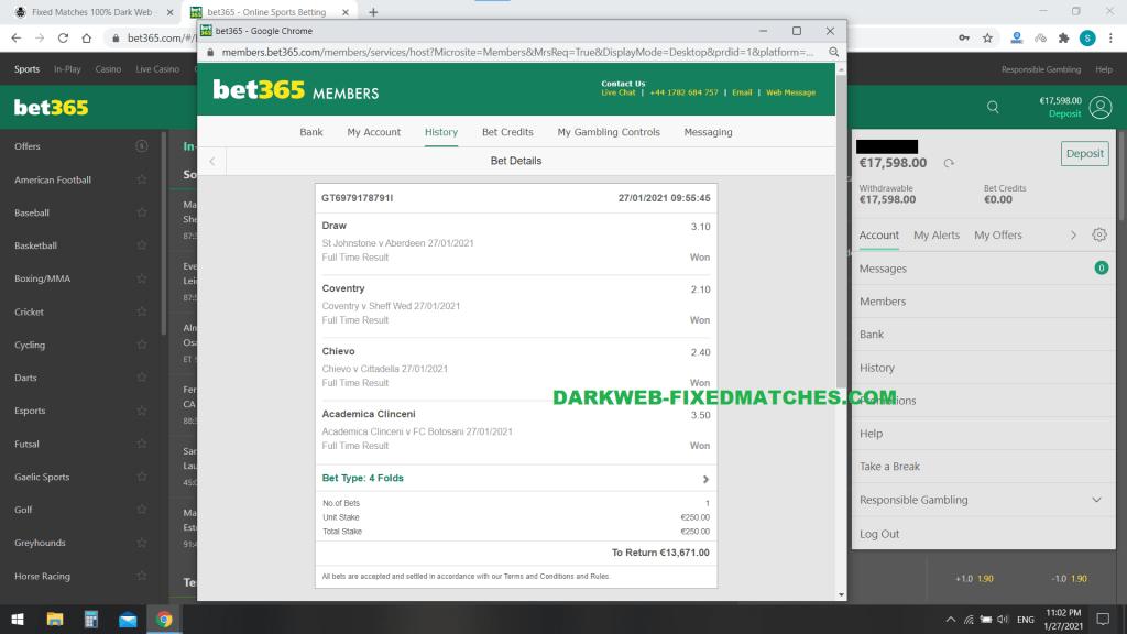 football fixed matches 100% sure dark web won 27 01
