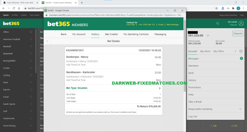 football fixed matches won 13 02 dark web