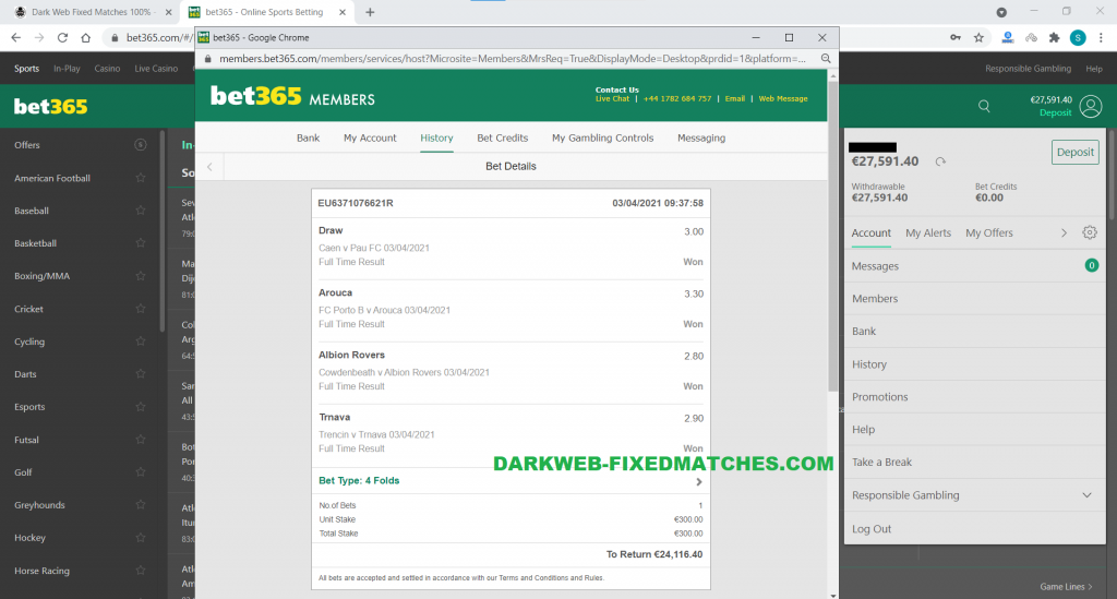 FIXED MATCHES FOOTBALL WIN 03 04 DARKWEB