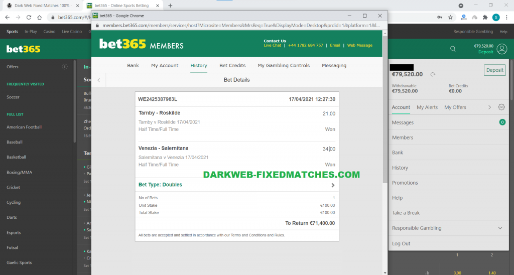 dark web fixed matches double ht ft won 17 04