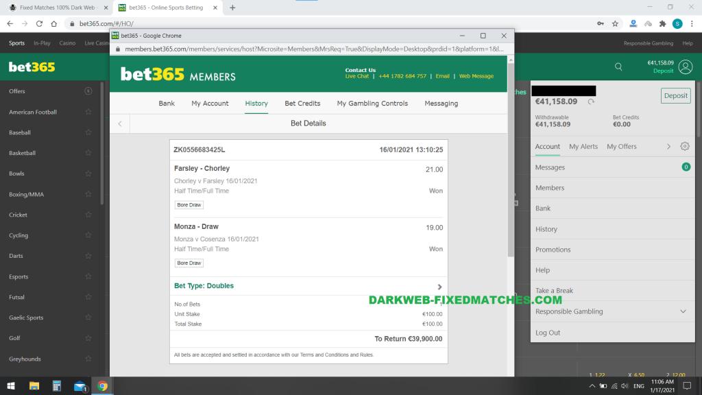 dark web fixed matches football ht ft won 16 01