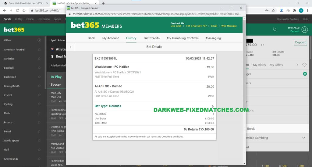 dark web fixed matches halftime fulltime won 06 03