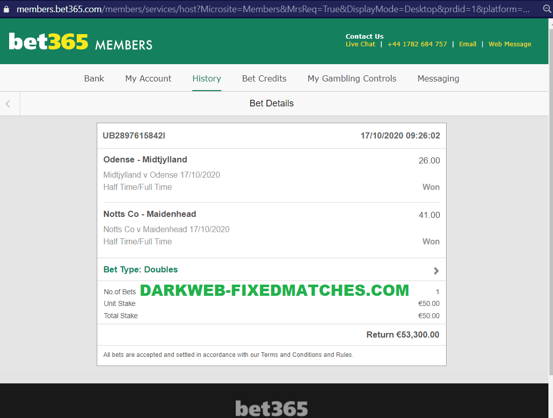 dark web fixed matches ht ft won 17 10