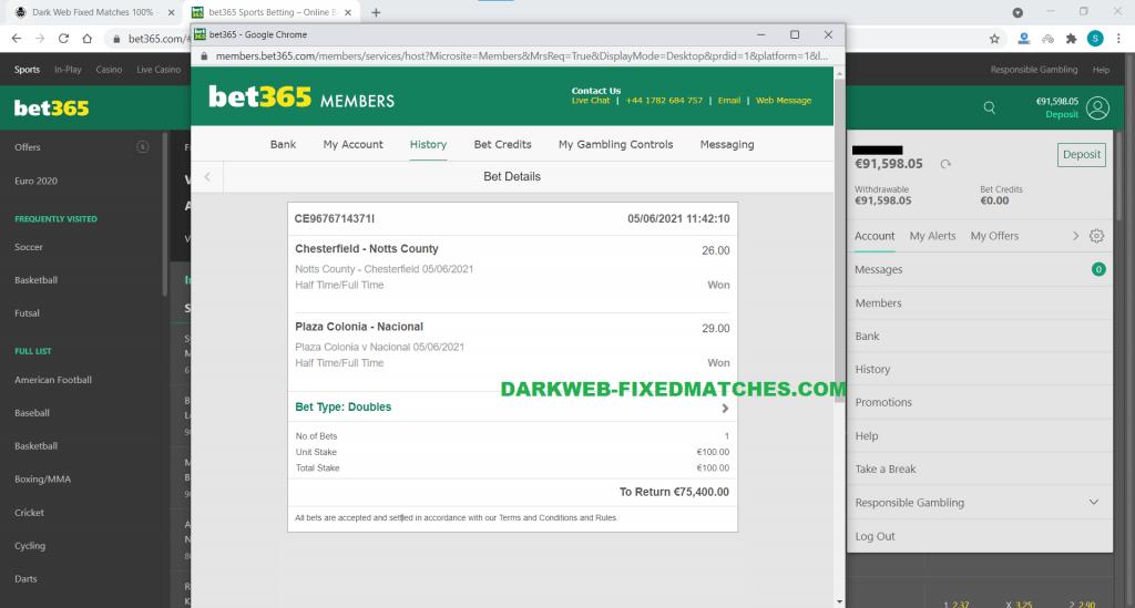dark web halftime fulltime fixed matches won 05 06