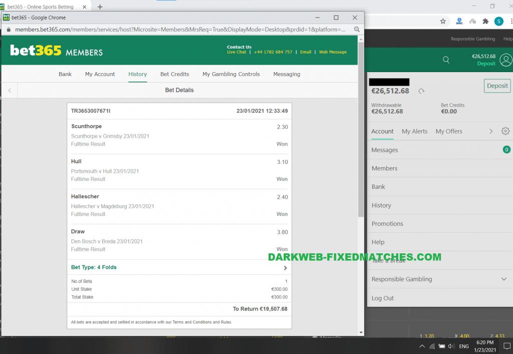 deep web fixed matches darkweb 100% sure win fixed matches football 23 01 won proof bet365