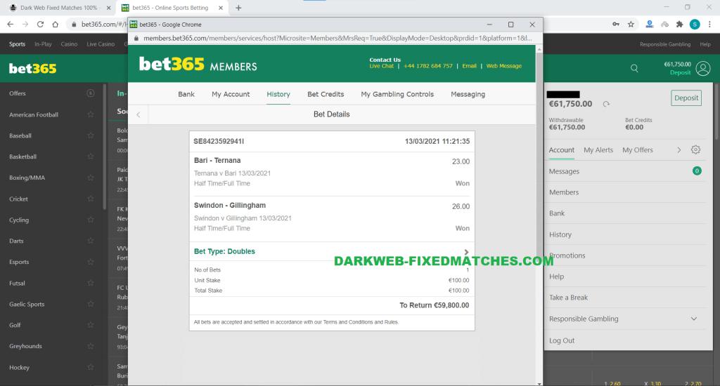 fixed matches halftime fulltime dark web won 13 03