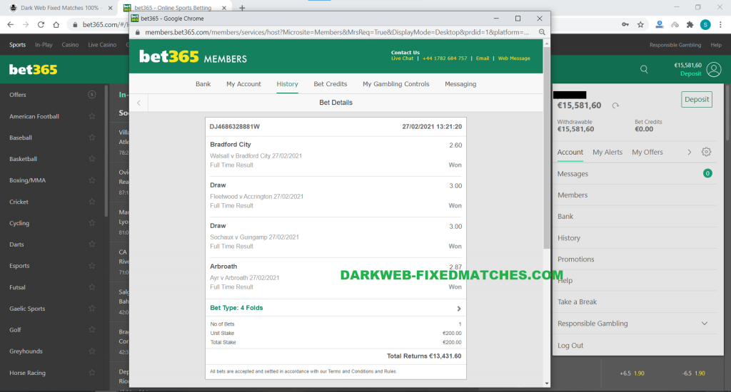 football fixed matches combined vip ticket won 27 02 dark web