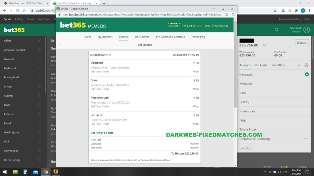 football fixed matches won 06 02 dark web