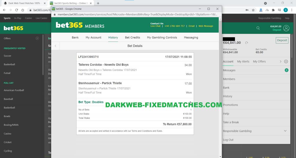 soccer fixed matches dark web forum 17 07 won