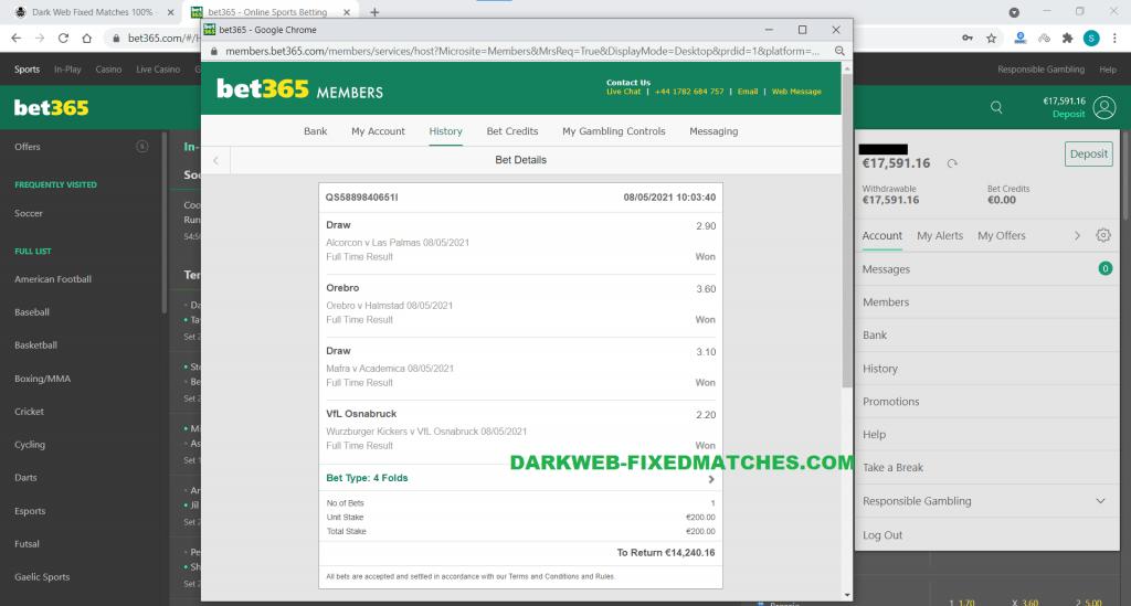 vip combined fixed matches won dark web 08 05