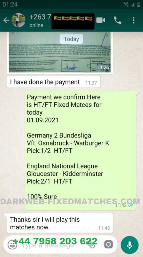 WhatsApp fixed matches proof 09 01