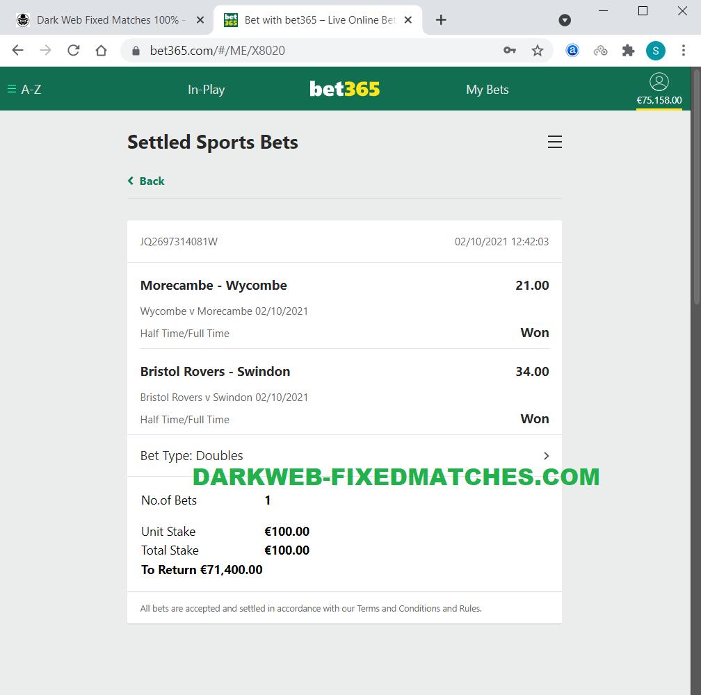 dark web fixed matches halftime fulltime won 02 10
